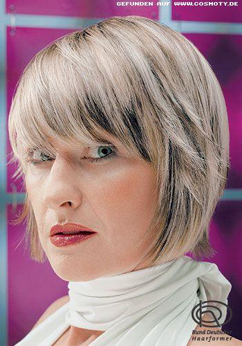 Kinnlanger Bob Mit Grau Blonden Strähnen Frauen Frisuren Bilder