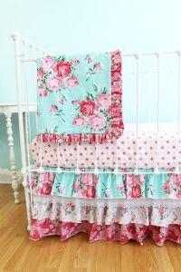 BumperlessBaby Crib Bedding Shabby Chic Roses Crib Bedding ...
