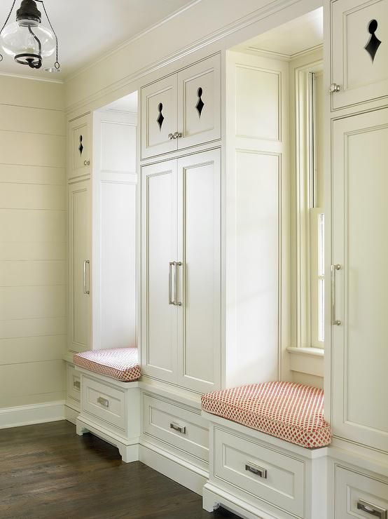 Beautiful Cottage Mudroom Features Two Built In Window