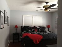 Grey, white, black and red master bedroom. Love it