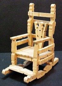 Vintage handcrafted wood clothespin rocking chair handmade