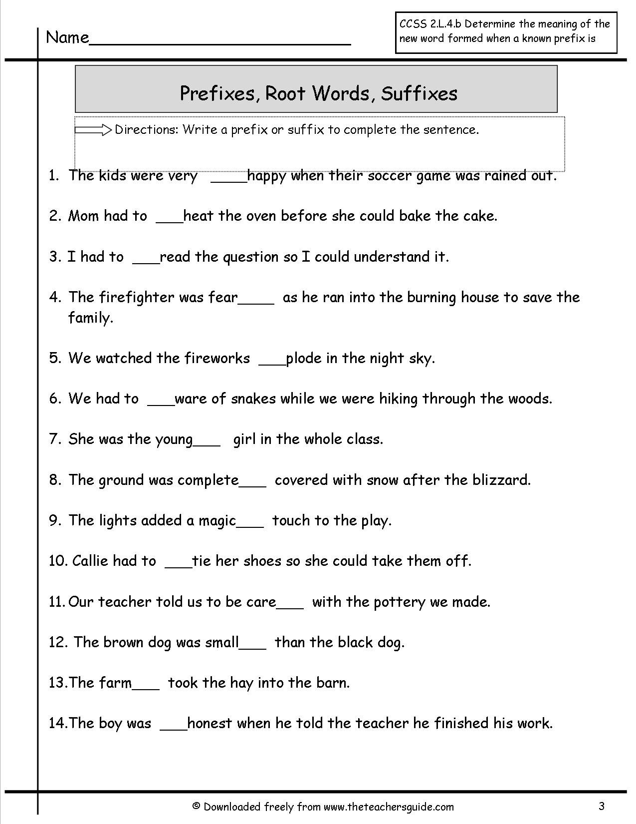 Prefixes Suffixes Worksheet