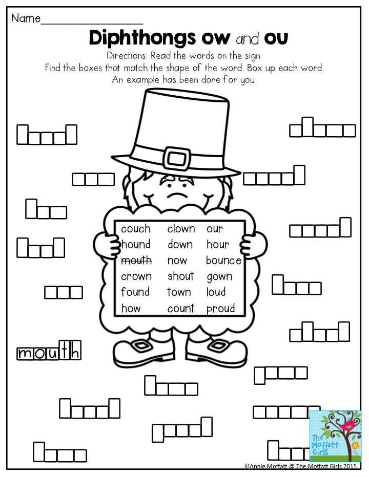 Diphthongs ow and ou- Box up the words. A FUN way to build