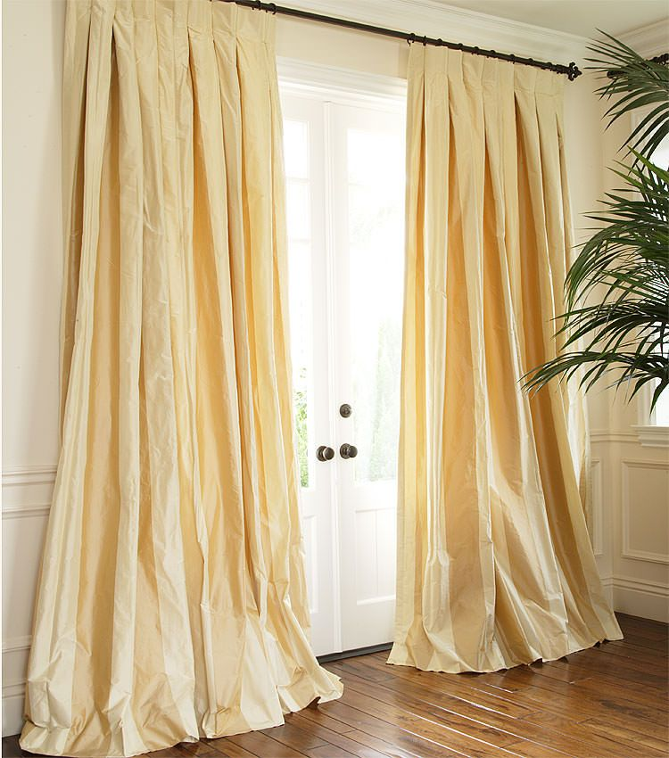 Striped Silk Taffeta Drapery Window Treatments Naples And Yellow