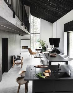 Home design open floor plan narrow house living room dining kitchen black ceiling loft second two story cool minimalist  also finnish project pinterest interiors samba rh