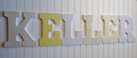 Wall letters nursery decor wooden grey and yellow art also rh pinterest