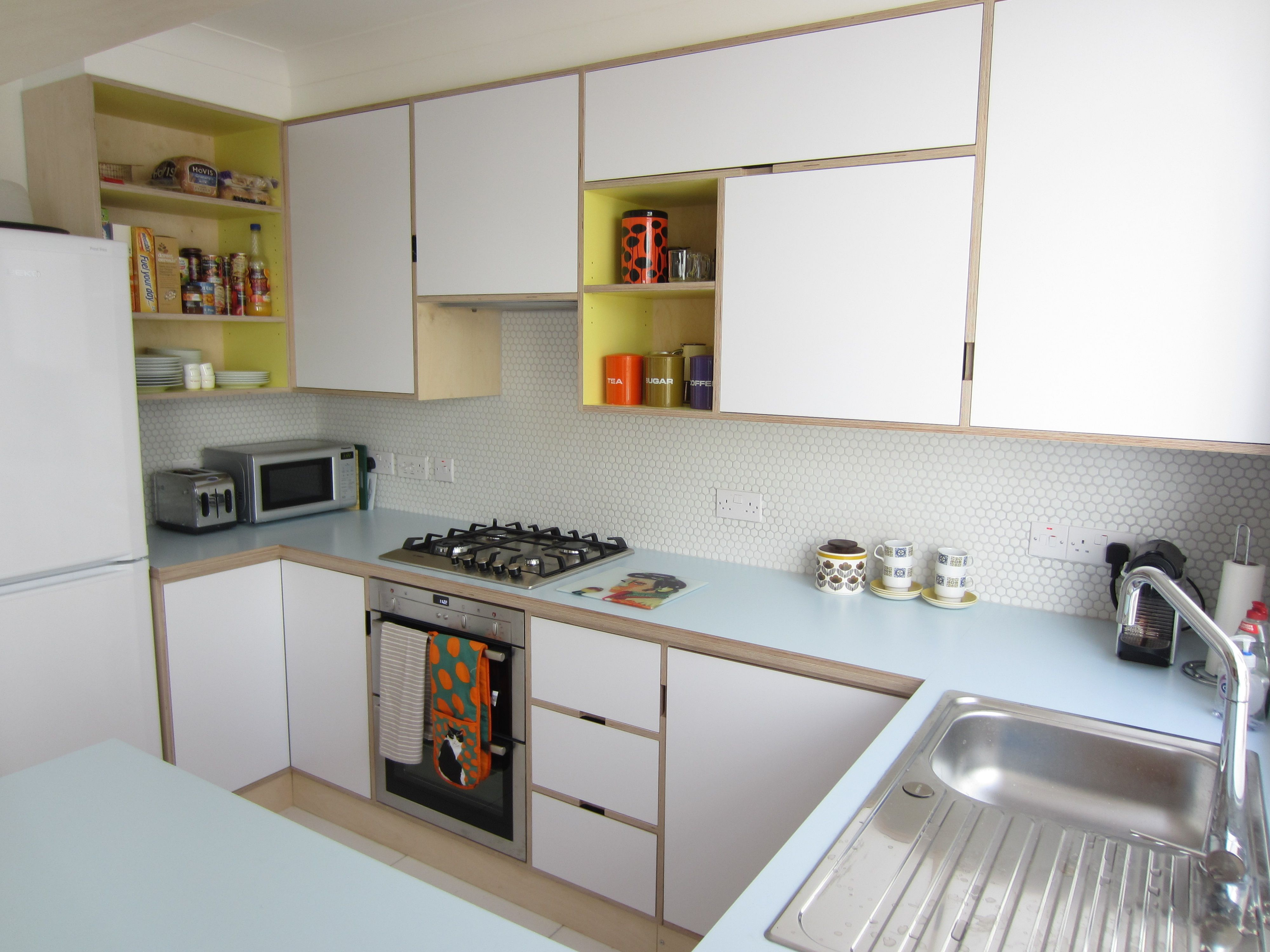 plywood kitchen cabinets small design ideas birch ply formica kandya mid century