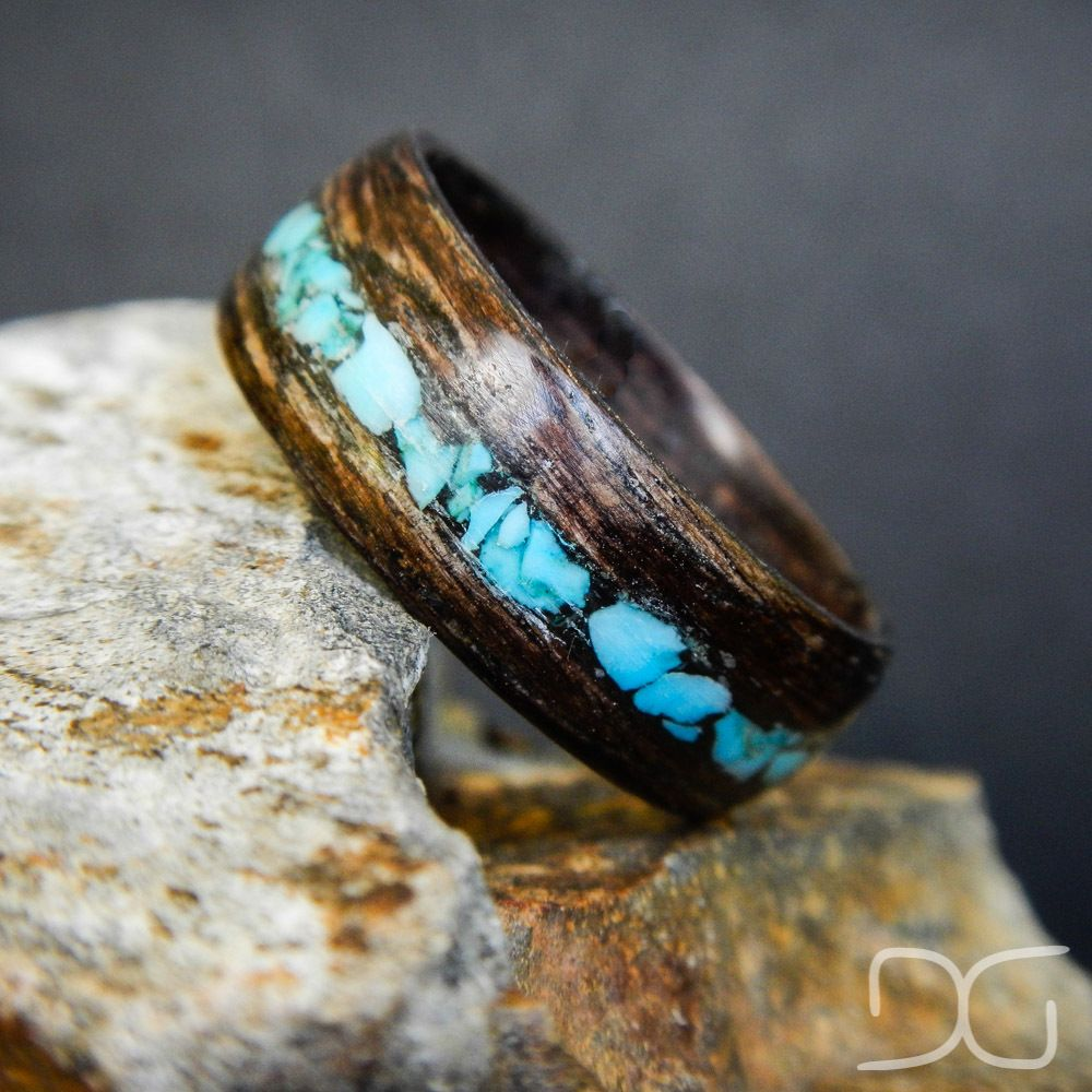 Mahogany Bentwood Ring With Turquoise Inlay Hand Crafted