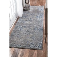 Rug Runners For Kitchen Tall Pantry Cabinet Furniture Nuloom Traditional Distressed Grey Runner 2 398 X 8