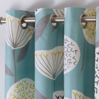 Dunelm Floral Fully Lined Teal Blue Emmott Eyelet Curtains ...