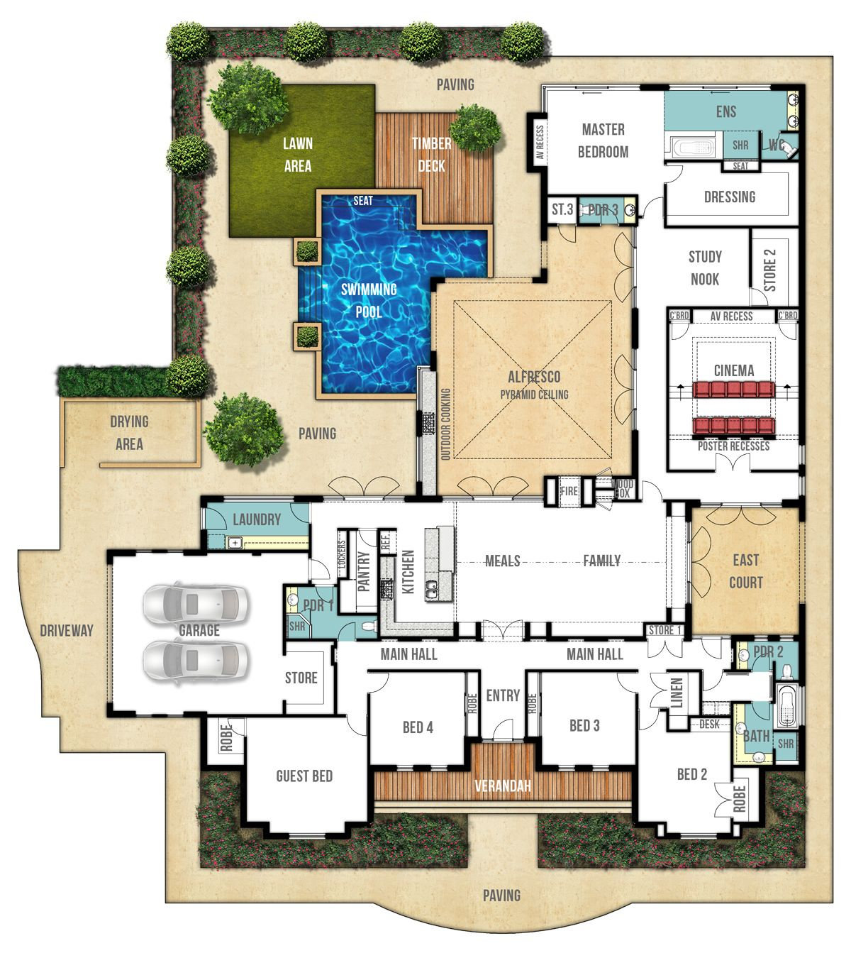 Single Storey Home Design Plan