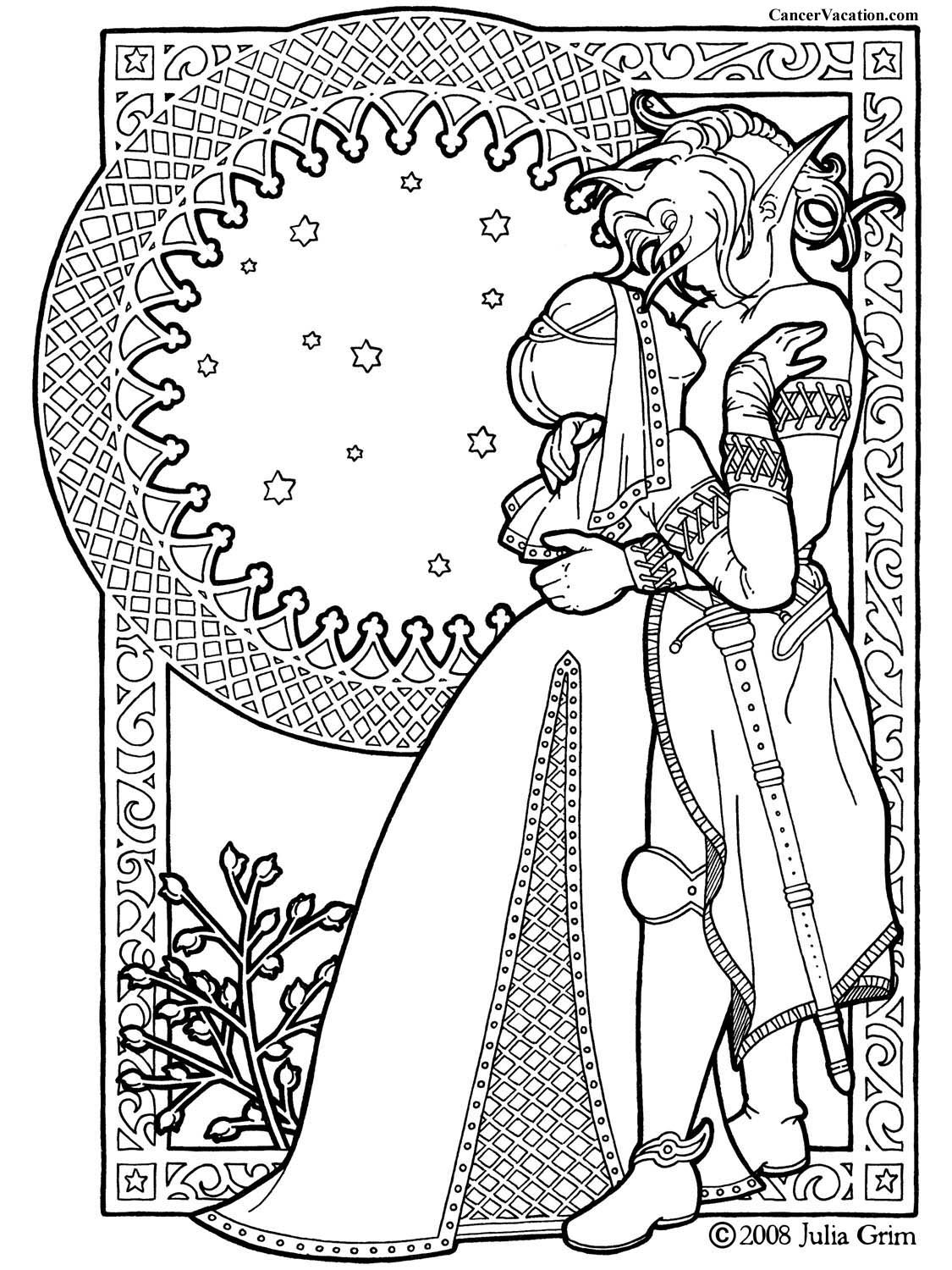 Adult Fantasy Coloring Book Cancer Vacation