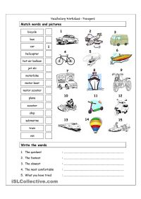 Vocabulary Matching Worksheet - Transport | MEANS OF ...