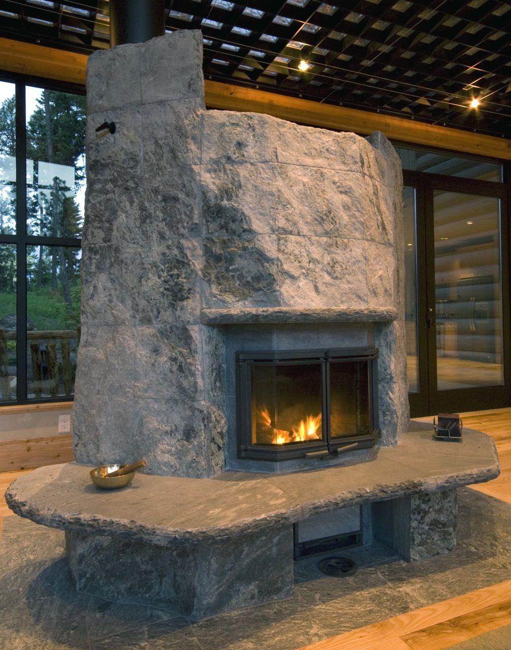 Boulder Style Tulikivi fireplace in Western Montana wwwwarmstonecom  Tulikivi Fireplaces