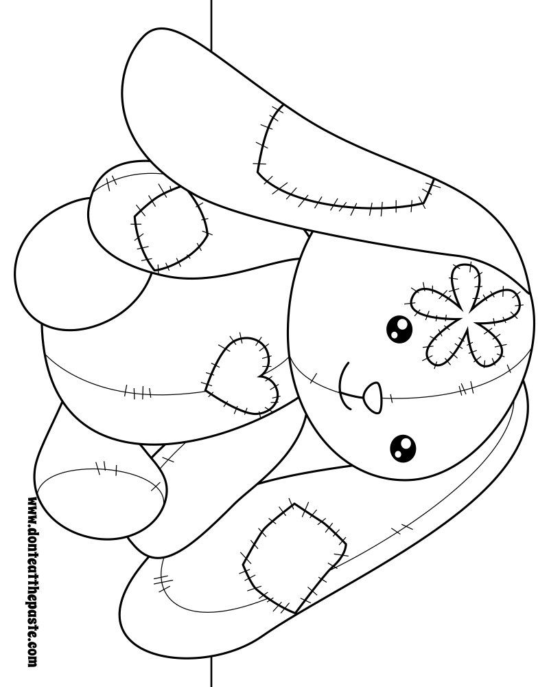 Patchwork bunny to color. Also available in transparent