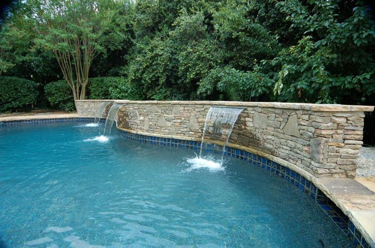 pool waterfall construction, waterfall design atlanta