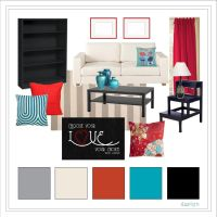 Living Room // Red, Black, Cream, Gray, and Teal...could ...