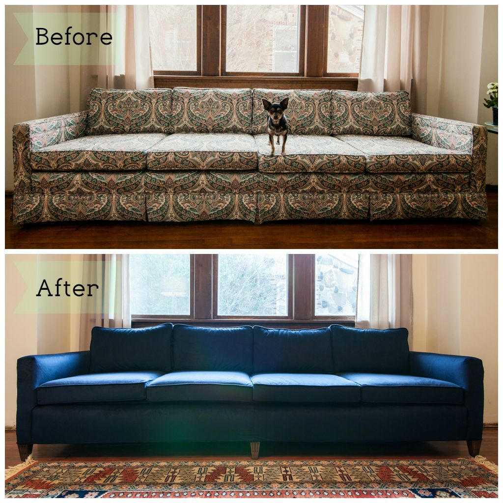 sofa reupholstering elran reclining reviews couch before after mid mod mad men pinterest