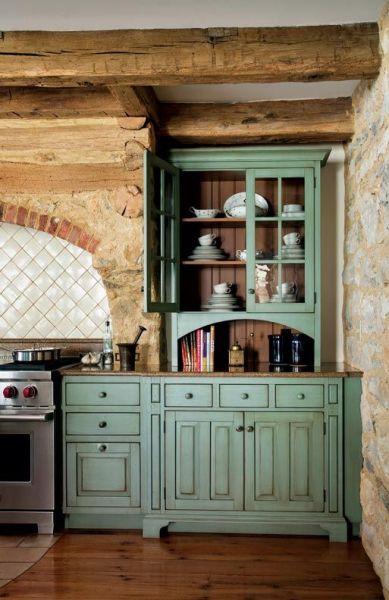 antique green kitchen cabinets Primitive Colonial-Inspired Kitchen | Colonial kitchen, Colonial and Primitives