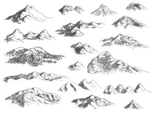 mountain mountains drawing simple sketches drawn draw sketch map drawings landscape pencil trees brushes cartographersguild tattoo nature elements mapping line