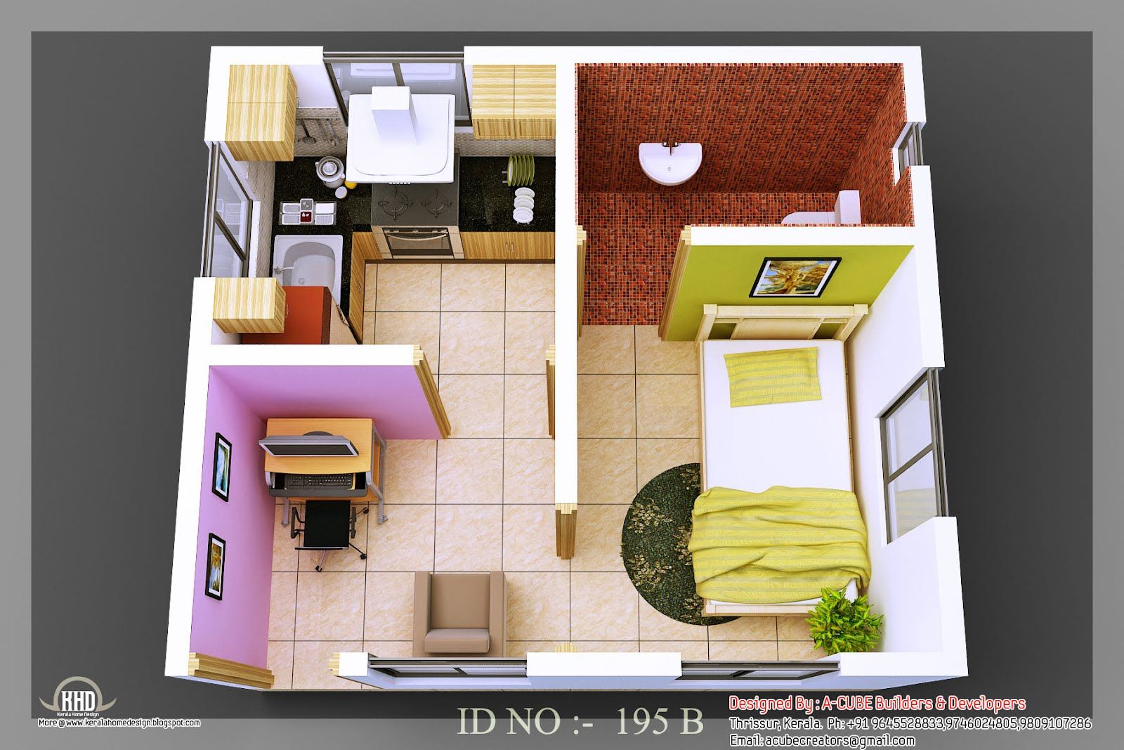 New Tiny House Interiors 3D Isometric Views Of Small House Plans