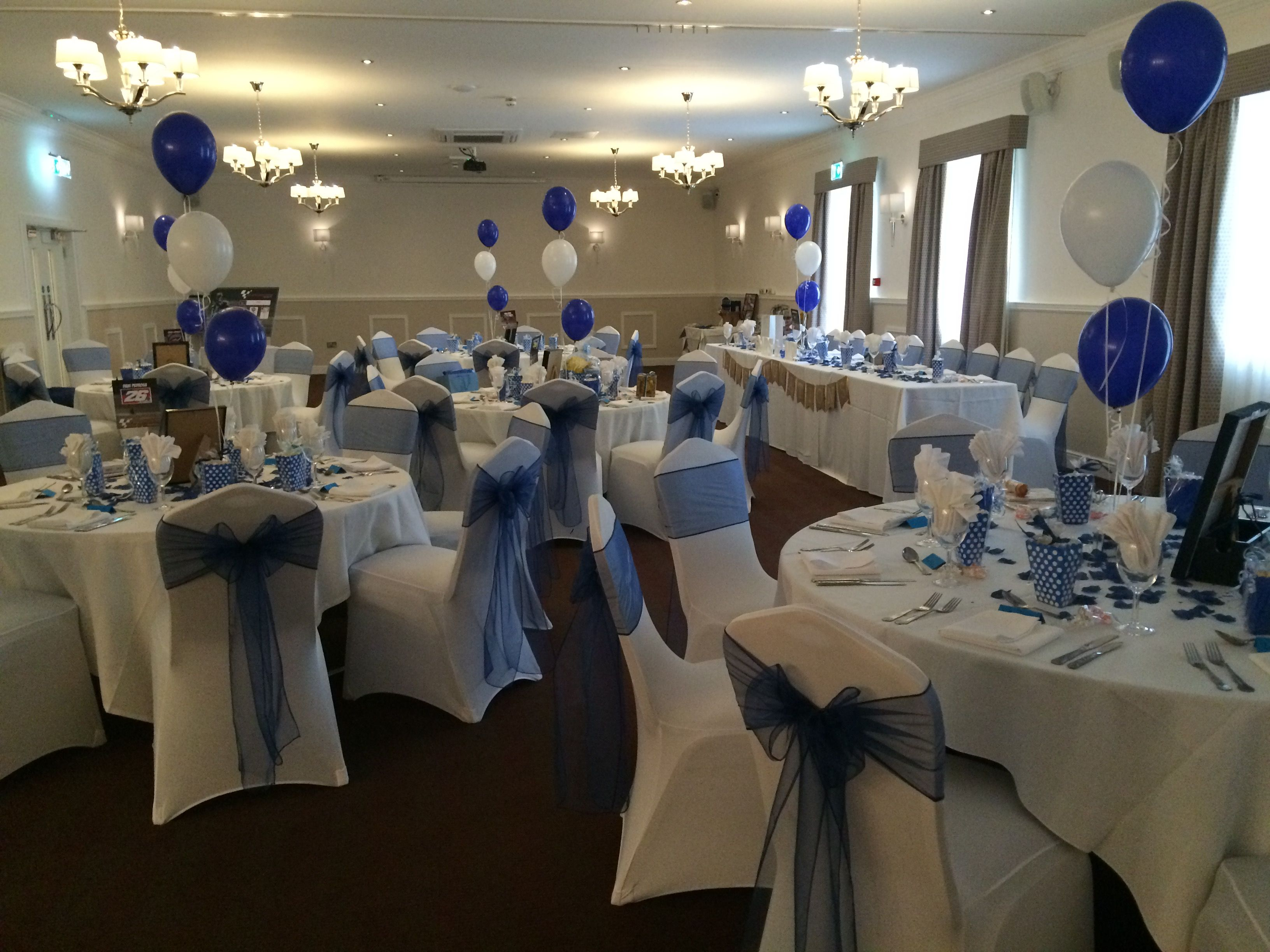 wedding chair covers swansea folding tables and chairs set white navy sashes at a reception in the grand hotel dressed