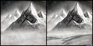 landscape realistic pencil easy drawings landscapes draw mountains sketches step simple drawing mountain dragoart charcoal sketch fantasy shading ross bob
