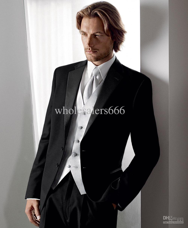 New Arrival Black Suit Silver Vest Groom Tuxedos Best Man