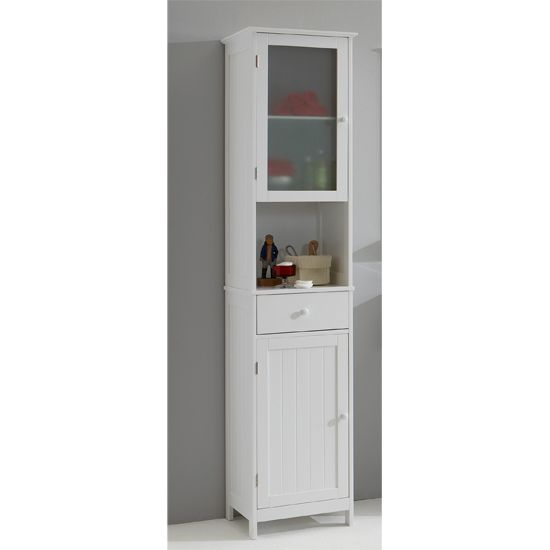 Sweden1 Free Standing Tall Bathroom Cabinet In White