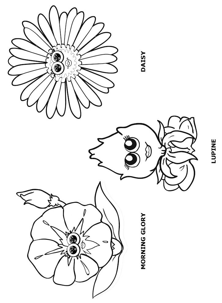 Flower Friends Coloring Page or make stick puppets with