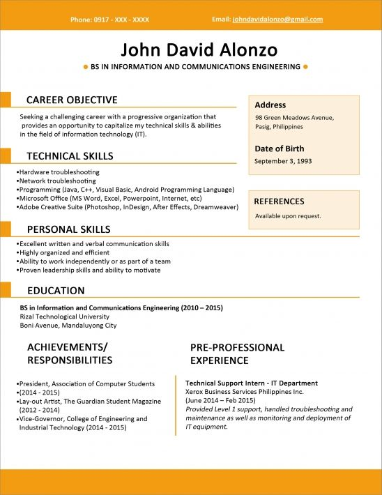 Sample Resume For Fresh Graduate Sample Resume For Fresh Graduate