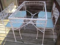 Vintage mid century wrought iron patio set salterini ...