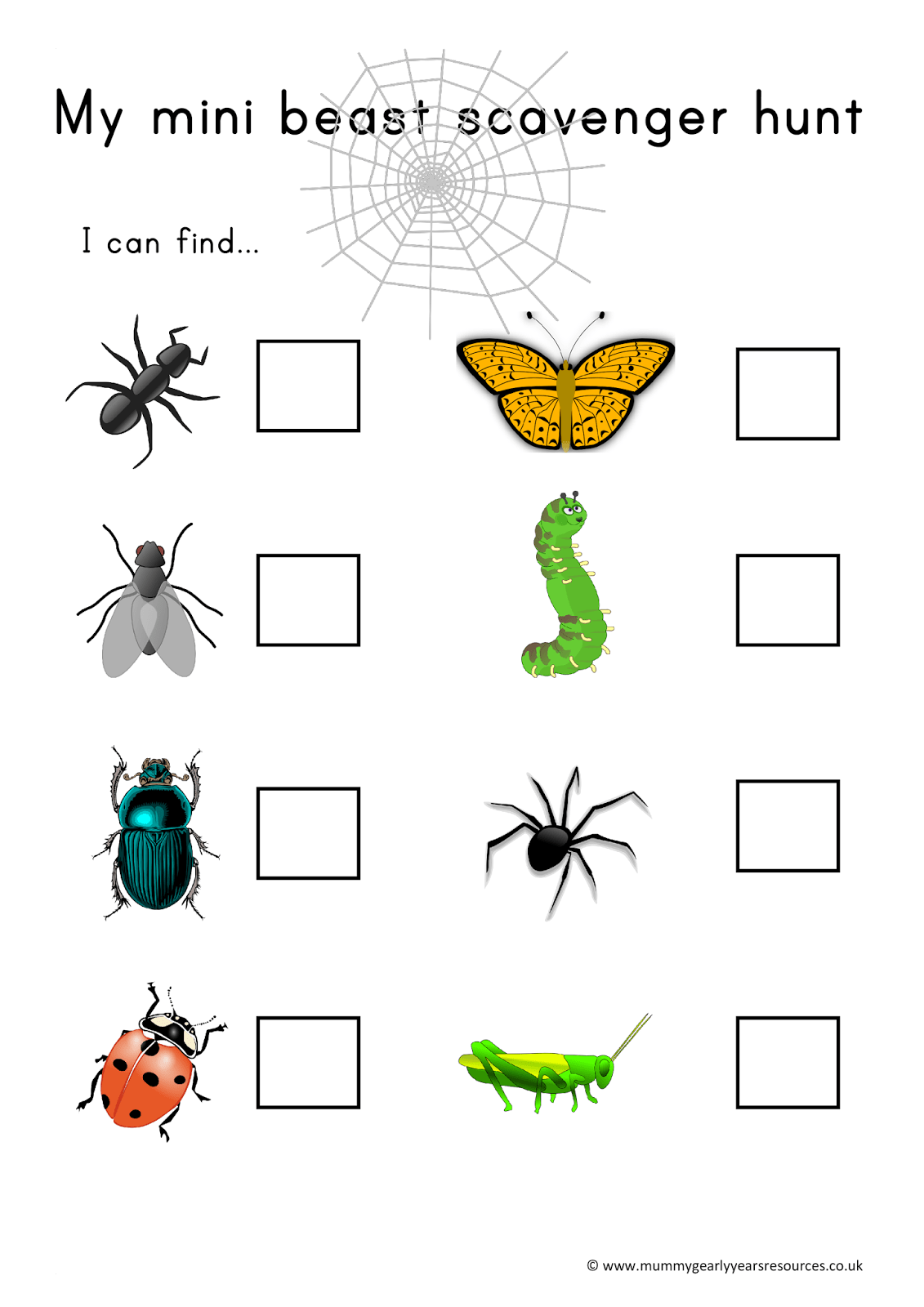 Mummy G Early Years Resources Mini Beast Scavenger Hunt