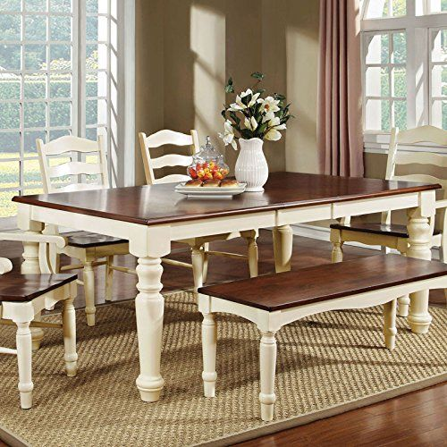 Palisade Country Style Cherry Amp White Finish Dining Table Bench Set 247SHOPATHOME Httpwww