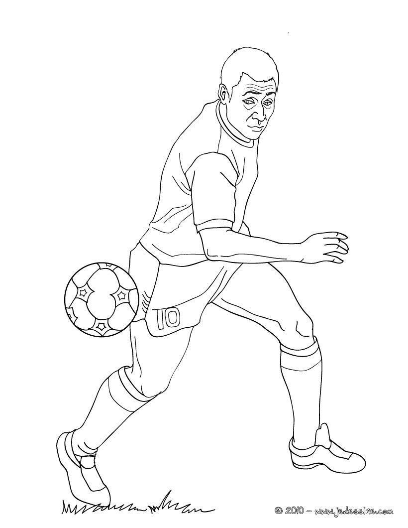Coloriage Du Celebre Joueur De Foot Pele Imprimer Gratuitement Ou Colorier En Ligne Sur