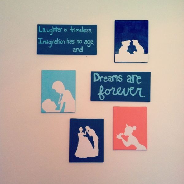 Easy Disney Princess Canvas Paintings. Cut Silhouettes Of Characters