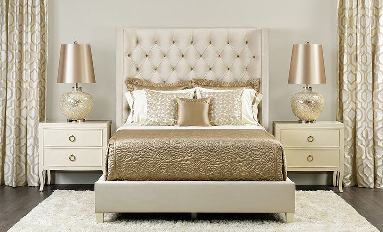 Gold and cream bedroom  Glamourous Home  Pinterest