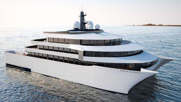 116 metre explorer superyacht hull arrives at kleven
