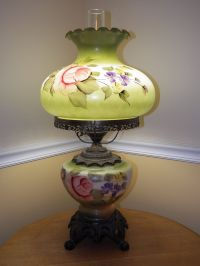 Vintage Glass Hand Painted Table Lamp -Floral Flower ...
