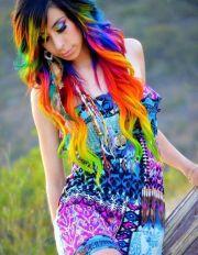 rainbow colored hair asian girl
