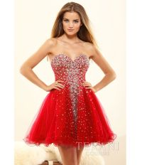 Red Crystal Strapless Sweetheart Prom Dress #uniquevintage ...