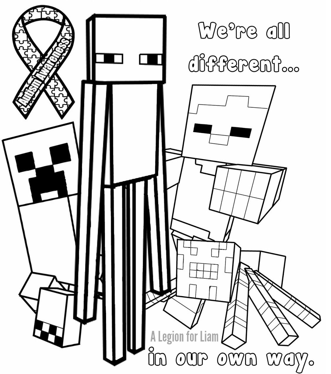 #Minecraft #autism coloring page by A Legion for Liam
