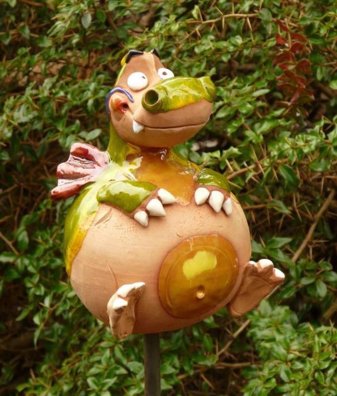 Details About Gartenstecker Gartenkugel Beetstecker Drache Keramik Gartendeko Handarbeit