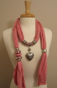 Details about Pink Jewelry Scarf Silver Puffed Heart ...