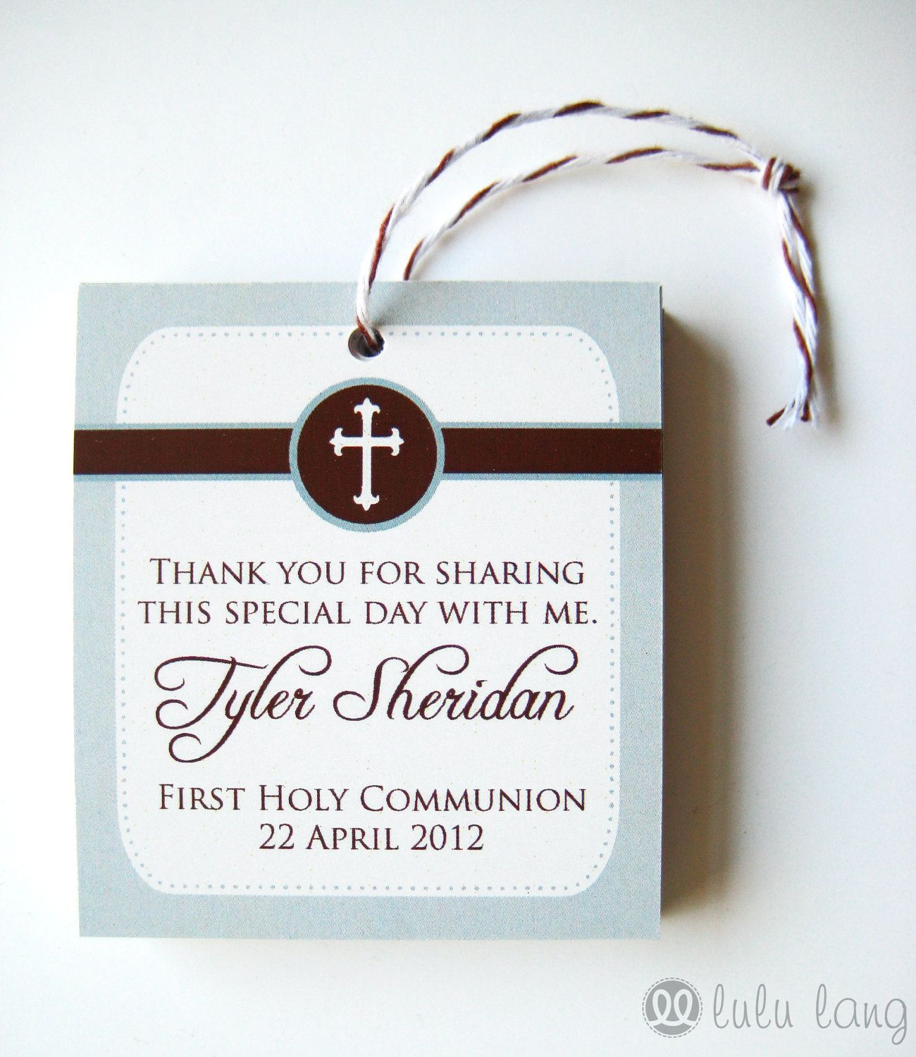 Simple First Communion Baptism Christening Or Confirmation Favor Tag