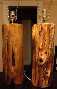 2 Handmade Wood Cedar Log Lamps/Rustic/Cabin/Lodge ...