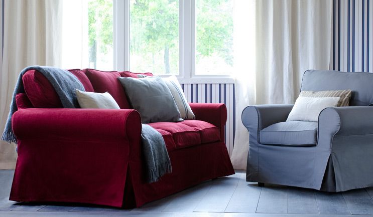 karlstad 3 seat sofa bed cover slipcovers for reclining ektorp 2 from ikea with a crimson red ...