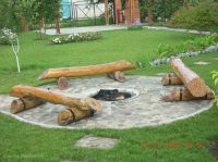 DIY Log seating around fire pit | Backyards & Outdoor ...