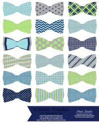 18 Navy Lime Turquoise and Grey BOWTIES / PRINTABLE Party ...