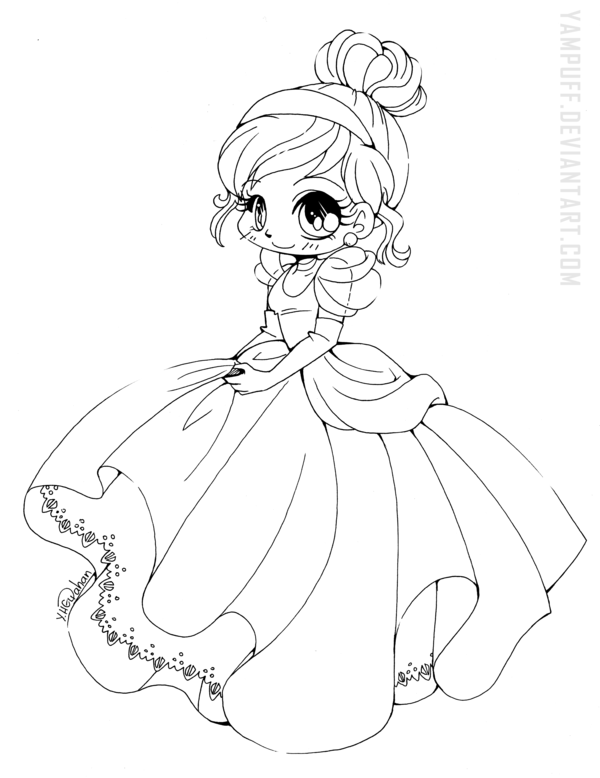 Cinderella Chibi Lineart by YamPuff.deviantart.com on